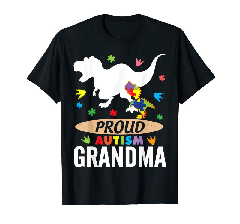 Order Big Dinosaur T-rex & Autism Child Shirt Proud Autism Grandma