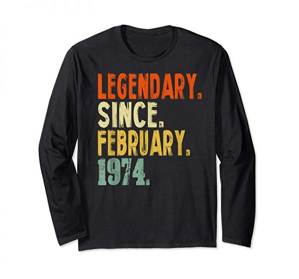 Buy Born In February 1974 45th Birthday Gift 45 Years Old Shirt
