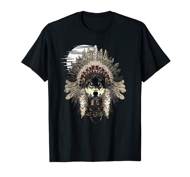 Buy Now Wolf T Shirt Moon Native American Headdress Wolves Clothing