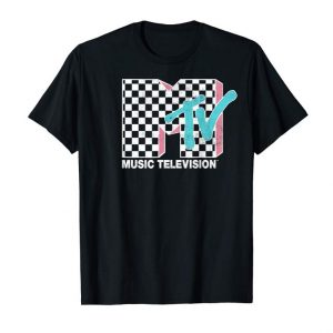 Cool MTV Neon Distressed Checkered Logo Graphic T-Shirt