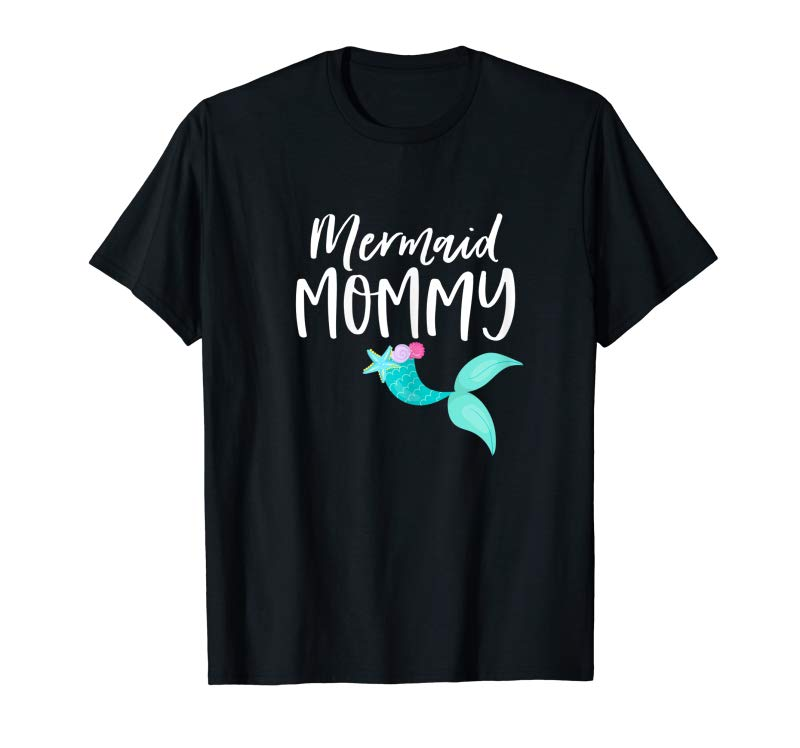 Trends Womens Mom Birthday Party Outfit Dad Mama Girl MERMAID MOMMY SHIRT