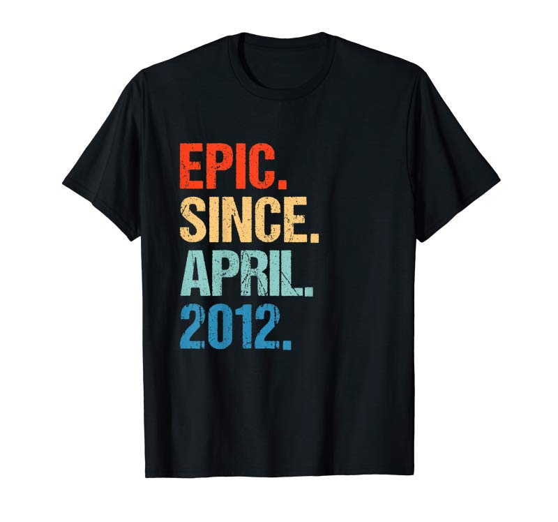 Get Kids Born In April 2012 7th Birthday Gift T Shirt 7 Yrs Old