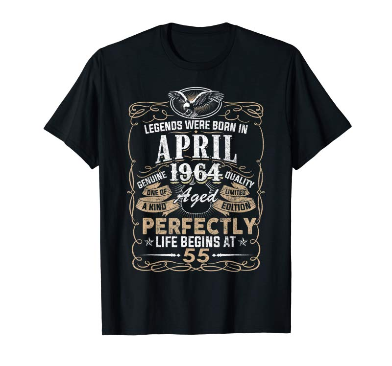Cool Legend Born APRIL 1964 55th Awesome Birthday Gifts T-Shirt