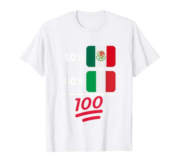 Trends Mexican Plus Italian Heritage Nationality Flag Gift T-Shirt