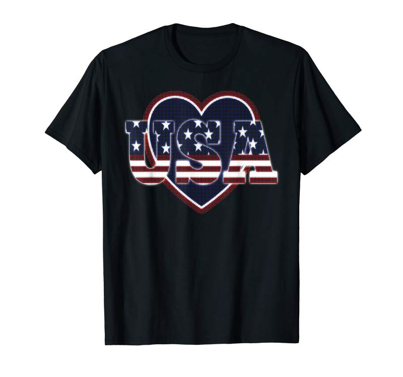 Trends USA Flag Shirts I Love The USA Red White And Blue Heart