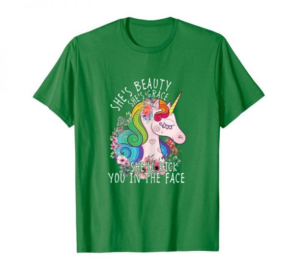 Trends Womens She's Beauty She's Grace She'll Punch You In The Face TShirt