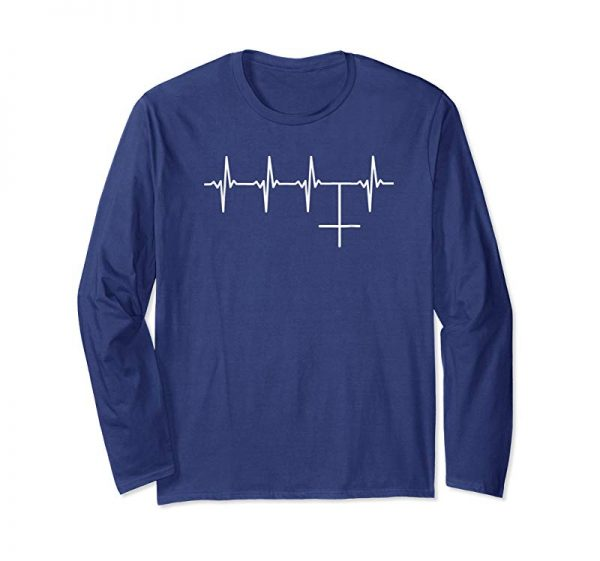 Buy Funny Antichrist Heartbeat Shirt With Upside Down Cross