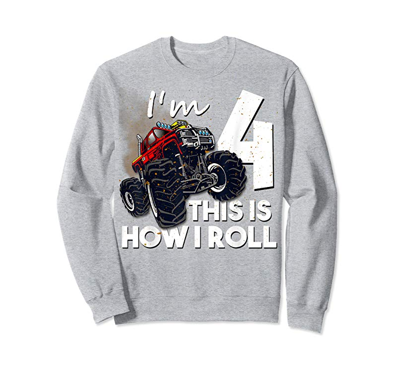 Order 4th Birthday T Shirt Boy Monster Truck 4 Years Old Gift