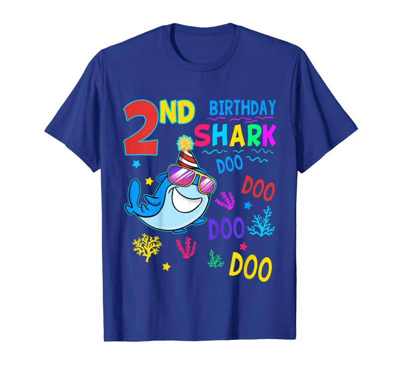 Trending Kids 2 Years Old 2nd Birthday Shark Shirt Son Gift Party