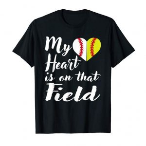Buy My Heart Is On That Field Baseball T-Shirt Softball Mom