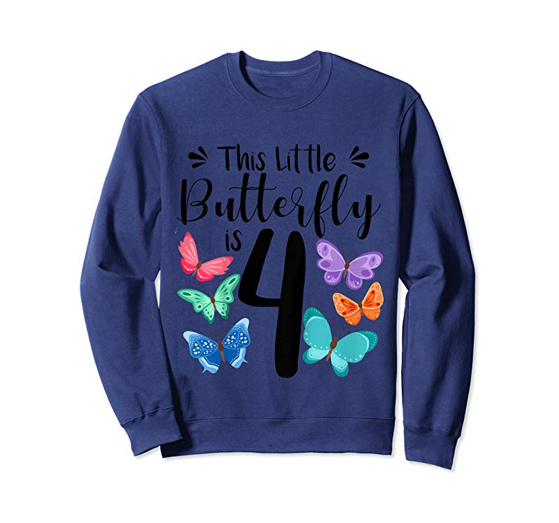 Trending Kids 4 Year Old Butterfly Birthday T Shirt Girls 4th Party Gift