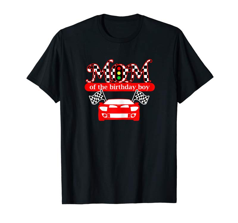 Trends Womens Mom Of The Birthday Boy Race Car Mommy T Shirt