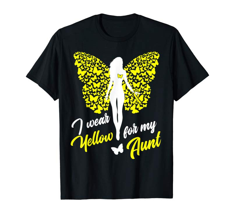 Order Now I Wear Yellow For My Aunt Support Awareness T-Shirt