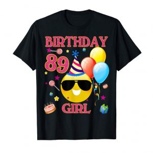 Buy 89th Emoji Birthday Pink Girl Shirt 89 Years Old Gifts A2