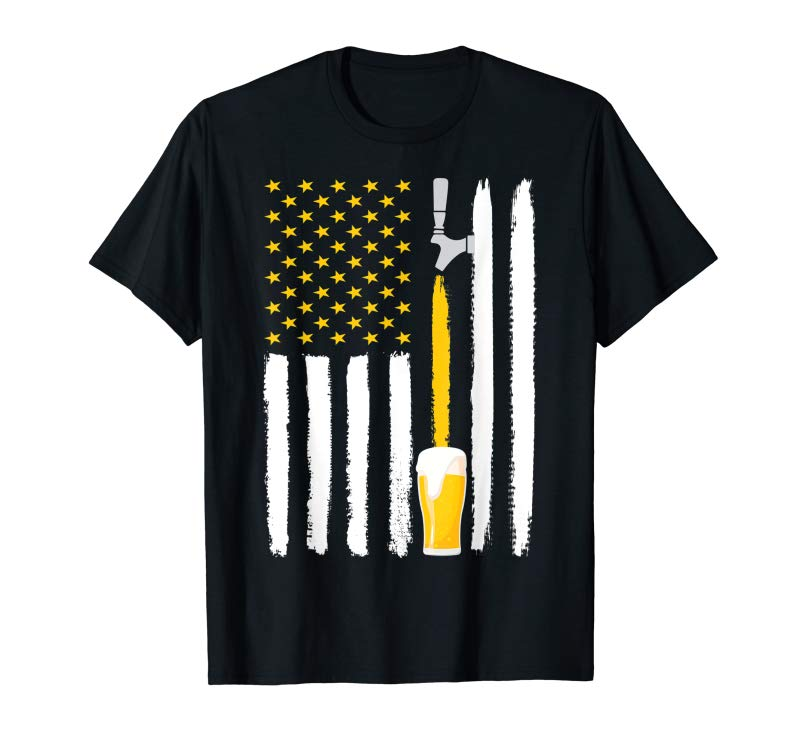 Trends Craft Beer American Flag USA T-Shirt 4th July Brewery