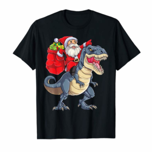 Cool Santa Riding Dinosaur T Rex Christmas Gifts Boys Men Xmas T-Shirt