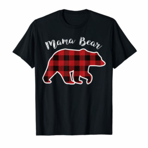 Adorable MAMA BEAR | Women Red Plaid Christmas Pajama Family Mom Gift T-Shirt