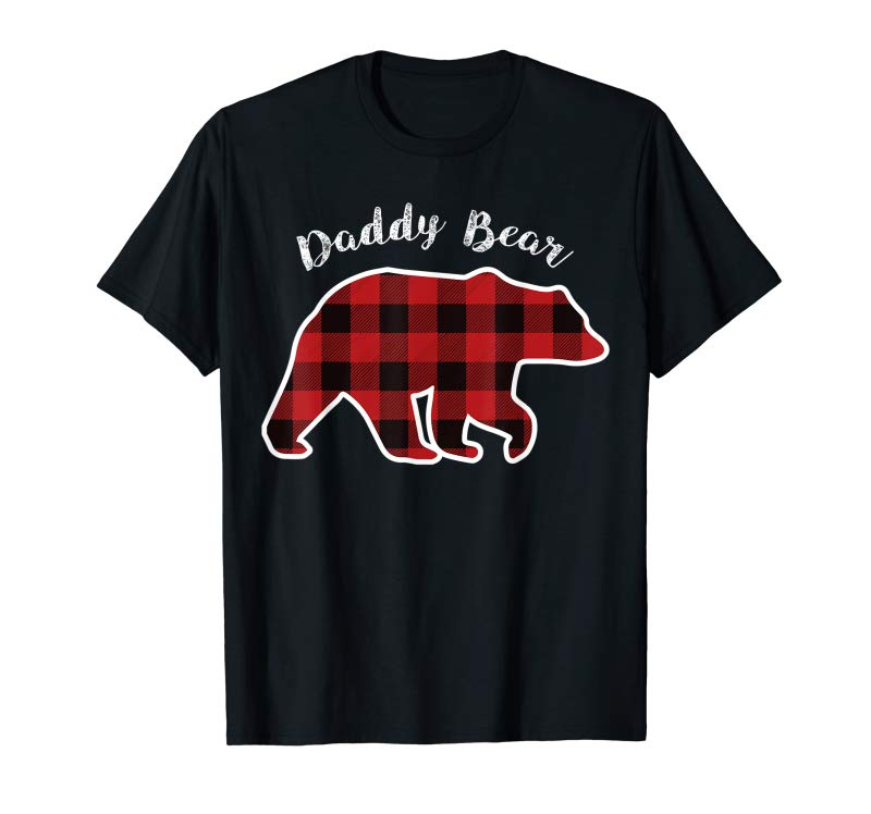 Trends Daddy BEAR Men Red Plaid Christmas Pajama Family Dad Gift T-Shirt