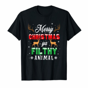 Buy Funny Alone At Home Movies Merry Christmas You Filty Animal T-Shirt