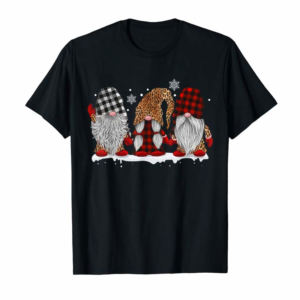 Trends Three Gnomes In Leopard Printed Buffalo Plaid Christmas Gift T-Shirt