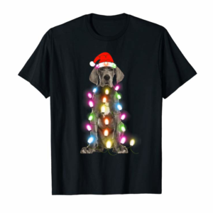 Trends Great Dane Christmas Pajama Santa Hat Lights Gift Dog Lover T-Shirt
