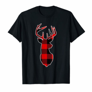 Buy Now Reindeer Deer Christmas Buffalo Plaid Holiday T-Shirt