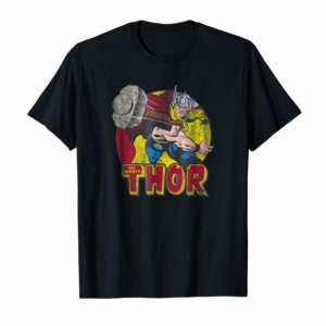 Buy Marvel Mighty Thor Hammer Throw Vintage Graphic T-Shirt