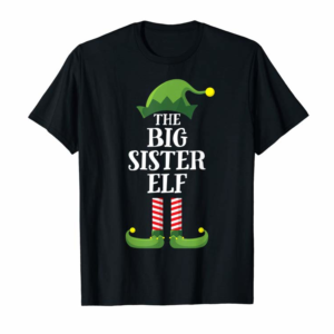Cool Big Sister Elf Matching Family Group Christmas Party Pajama T-Shirt
