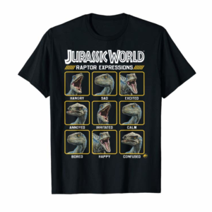 Shop Jurassic World Two Blue Raptor Expressions Graphic T-Shirt