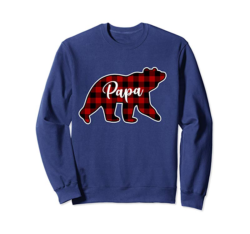 Trending Red Plaid Papa Bear Matching Family Group Hoodie Pullover Hoodie