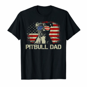 Adorable Mens Best Pitbull Dad Ever Shirt American Flag 4th Of July Gift T-Shirt