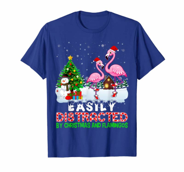 Cool Easily Distracted By Christmas And Flamingos Hat In Snow T-Shirt