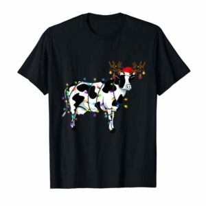 Buy Funny Cow Christmas Tee Reindeer Christmas Lights Pajama T-Shirt