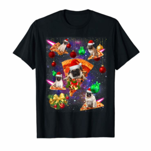 Order Space Santa Pug Riding Pizza Galaxy-Pug Christmas Pajama T-Shirt