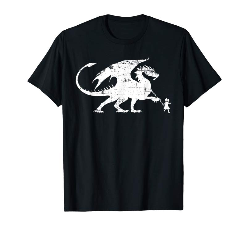 Buy Little Girl Walking Her Dragon Distressed Style T-Shirt