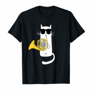 Order Funny Cat Wearing Sunglasses Playing French Horn T-Shirt