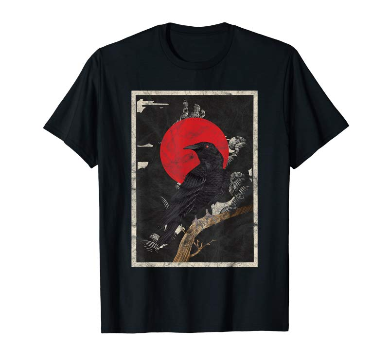 Trends Red Moon Raven Graphic Black Crow T-Shirt  Design