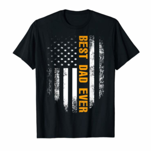Cool Vintage Best Dad Ever Shirt American Flag Father's Day Gift