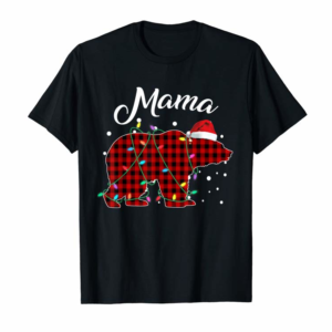 Cool Red Plaid Mama Bear Matching Buffalo Pajama T-Shirt T-Shirt