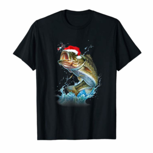Order Funny Bass Fishing Santa Hat Christmas Pajama Fishermen Gift T-Shirt