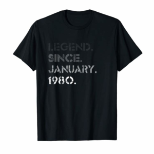Adorable Legend January 1980 40 Years Old 40th Birthday Gifts T-Shirt