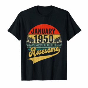 Adorable Vintage Retro January 1950 70th Birthday Gifts 70 Years Old T-Shirt