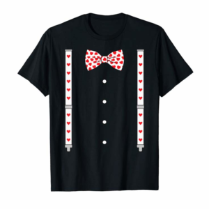 Order Now Hearts Bow Tie & Suspenders Valentine's Day Costume T-Shirt