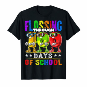 Buy Flossing Through 100 Days Of School 100th Day School Kids T-Shirt