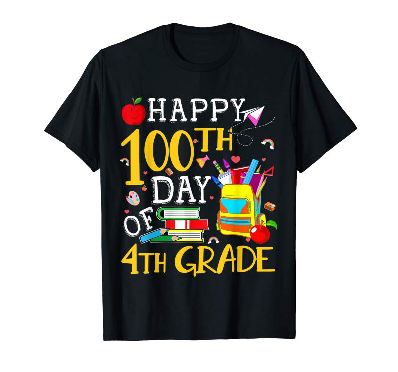 Trends Happy 100th Day Of 4th Grade Shirt Teacher Student Gift T-Shirt