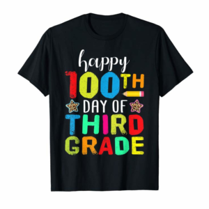 Adorable Happy 100th Day Of 3rd Grade Teacher Student Leopard Gift T-Shirt