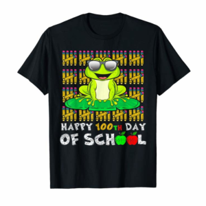 Order Happy 100th Day Of School Frog Funny Teacher Student Kids T-Shirt