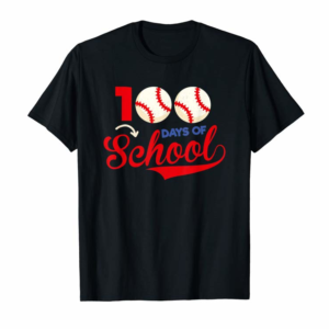 Adorable 100 Days Of School Shirt 100th Day Baseball Teacher Kids