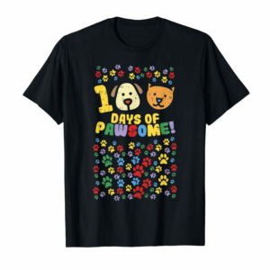 Adorable 100th Day Of School Shirt 100 Days Of Pawsome Dog Cat Paws