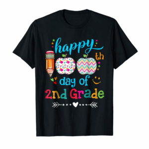 Adorable Happy 100th Day Of 2nd Grade T-Shirt For Teacher & Student